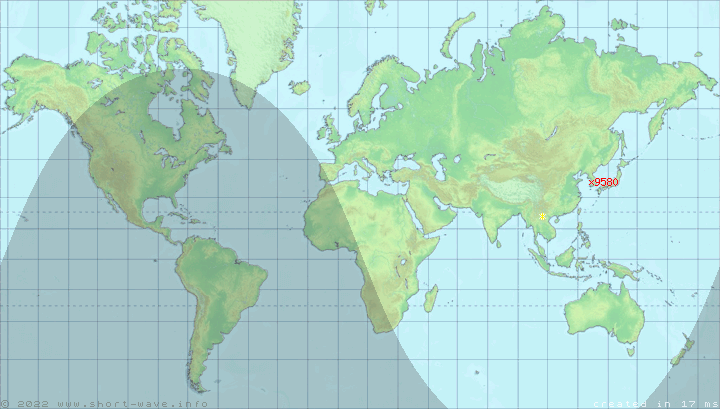 Map Of Stations Broadcasting On Exactly 9580 KHz Now